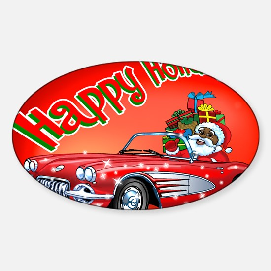 Vintage Car Santa Sticker (Oval)