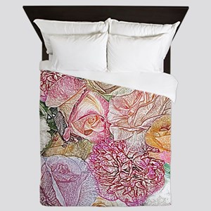A Field Of Roses in Colored Pencils Queen Duvet
