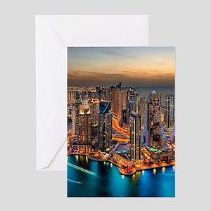 Dubai Skyline Greeting Cards