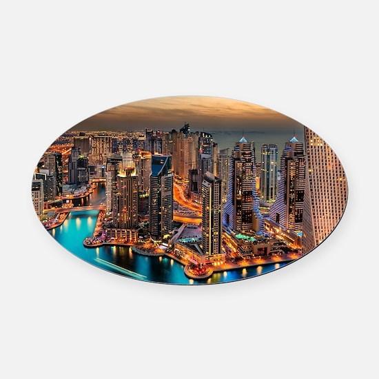 Dubai Skyline Oval Car Magnet