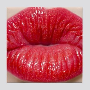 Red Lips Kiss Tile Coaster