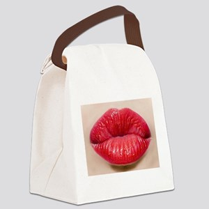 Red Lips Kiss Canvas Lunch Bag