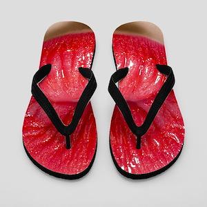 Red Lips Kiss Flip Flops
