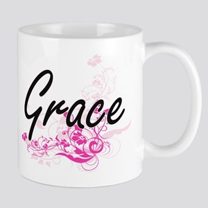 Grace Artistic Name Design with Flowers Mugs