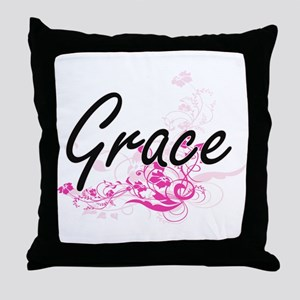 Grace Artistic Name Design with Flowe Throw Pillow