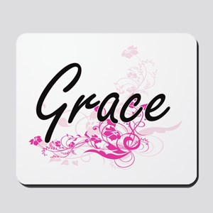 Grace Artistic Name Design with Flowers Mousepad