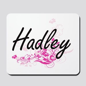 Hadley Artistic Name Design with Flowers Mousepad