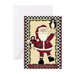 Santa With Penguins Christmas (pk Greeting Cards
