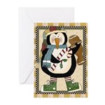 Penguin And Gingerbread Christmas Greeting Cards