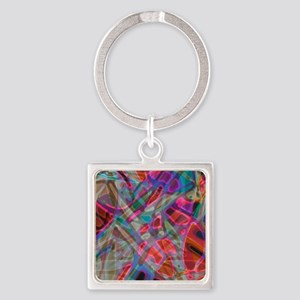 Colorful Stained Glass G1 Square Keychain