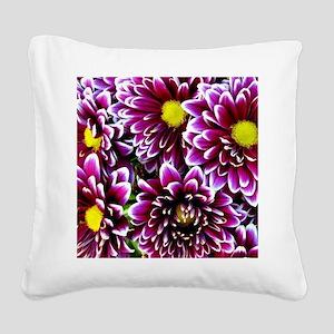Purple, Pink, Dahlias Square Canvas Pillow
