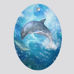 Wonderful dolphin Oval Ornament