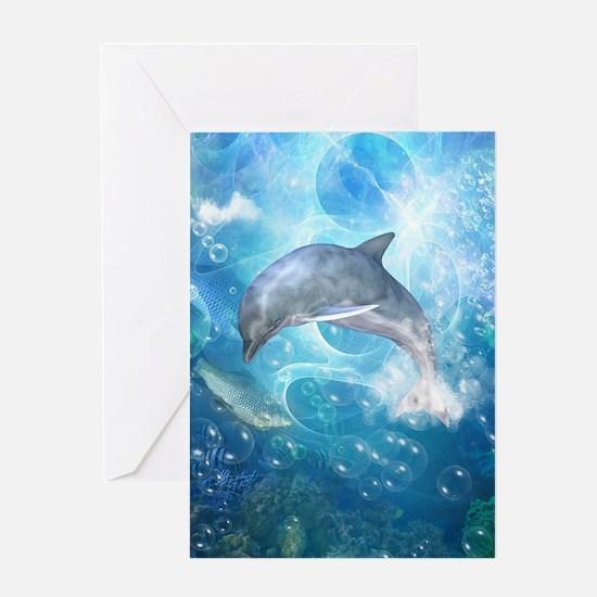 Wonderful dolphin Greeting Cards