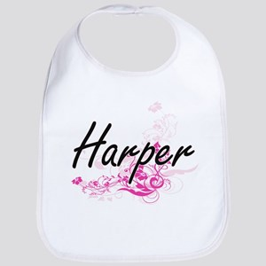 Harper Artistic Name Design with Flowers Bib