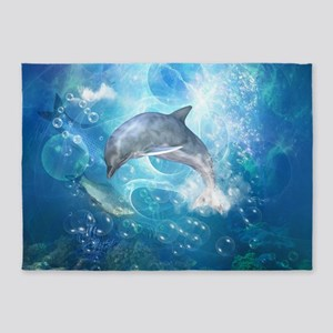 Wonderful dolphin 5'x7'Area Rug