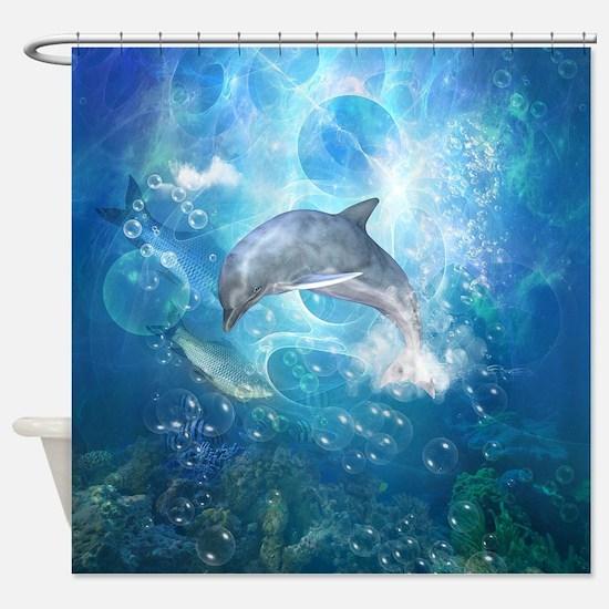 Wonderful dolphin Shower Curtain