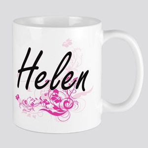 Helen Artistic Name Design with Flowers Mugs