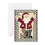 Joy Santa Christmas Greeting Cards (Pk of 10)