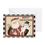 Santa And Snowman Greeting Cards (pk Of 10)