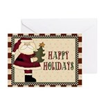 Santa With Tree Christma Greeting Cards (pk Of 10)