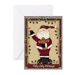 holly jolly santa Greeting Cards (Pk of 10)