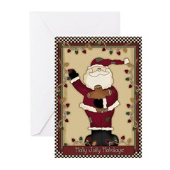 holly jolly santa Greeting Cards (Pk of 10)