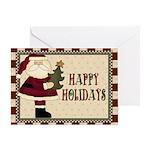 Santa With Tree Christmas Card Greeting Cards
