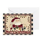 Santa Lights Merry Christmas Card Greeting Cards