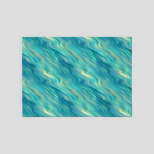 Blue Wavy Texture 5'x7'Area Rug