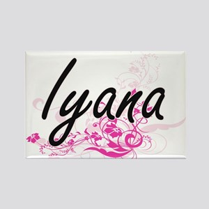 Iyana Artistic Name Design with Flowers Magnets