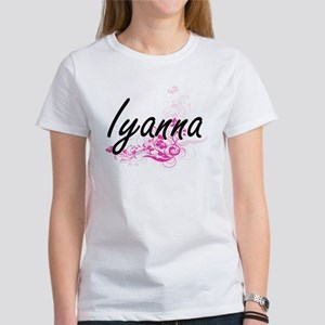 Iyanna Artistic Name Design with Flowers T-Shirt