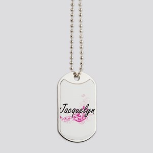 Jacquelyn Artistic Name Design with Flowe Dog Tags