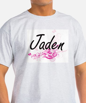Jaden Artistic Name Design with Flowers T-Shirt