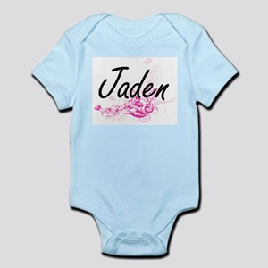 Jaden Artistic Name Design with Flowers Body Suit