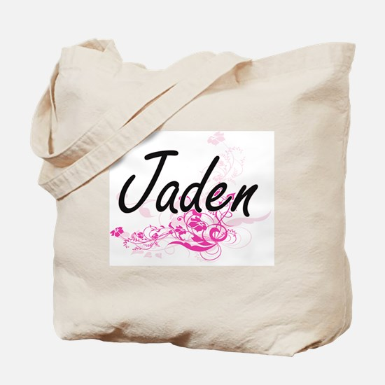 Jaden Artistic Name Design with Flowers Tote Bag