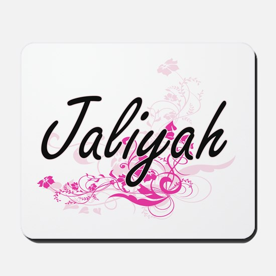Jaliyah Artistic Name Design with Flower Mousepad