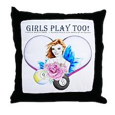Girls Play Pool Too Throw Pillow