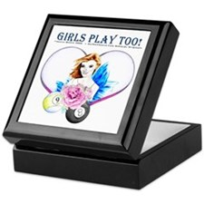 Girls Play Pool Too Keepsake Box