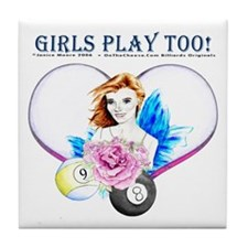 Girls Play Pool Too Tile Coaster