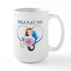 Girls Play Pool Too Large Mug