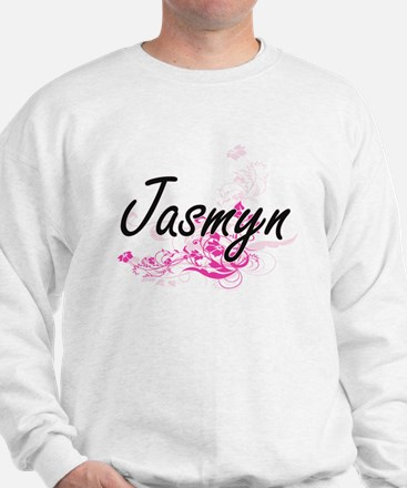 Jasmyn Artistic Name Design with Flower Sweater