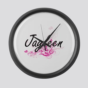 Jayleen Artistic Name Design with Large Wall Clock