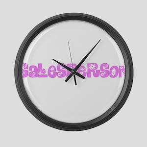 Salesperson Pink Flower Design Large Wall Clock