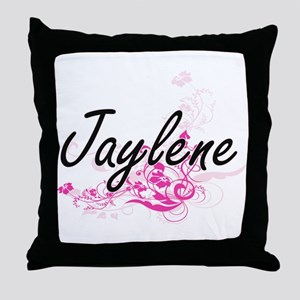 Jaylene Artistic Name Design with Flo Throw Pillow
