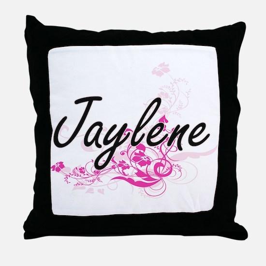 Jaylene Artistic Name Design with Flo Throw Pillow