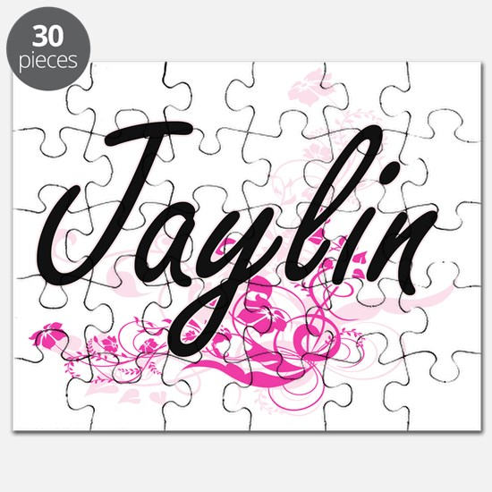 Jaylin Artistic Name Design with Flowers Puzzle