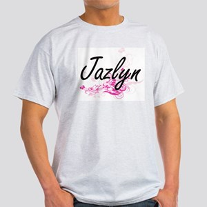 Jazlyn Artistic Name Design with Flowers T-Shirt