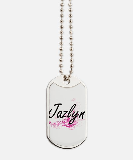 Jazlyn Artistic Name Design with Flowers Dog Tags