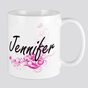 Jennifer Artistic Name Design with Flowers Mugs