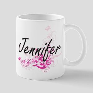 Jennifer Artistic Name Design with Flowers Mugs